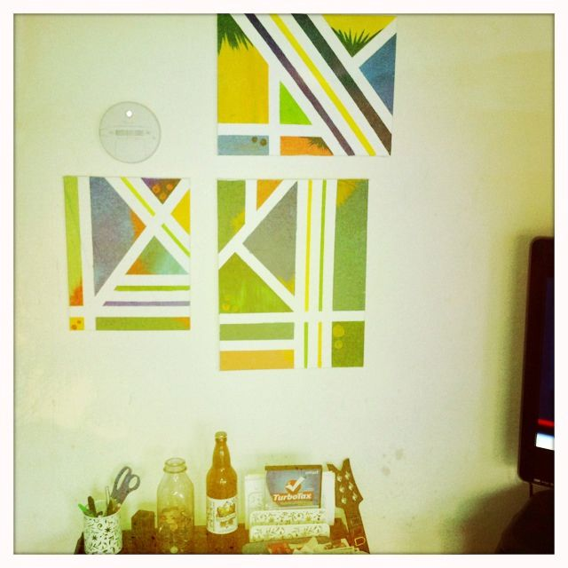 Wall art made with blank canvases, masking tape and any colored ...