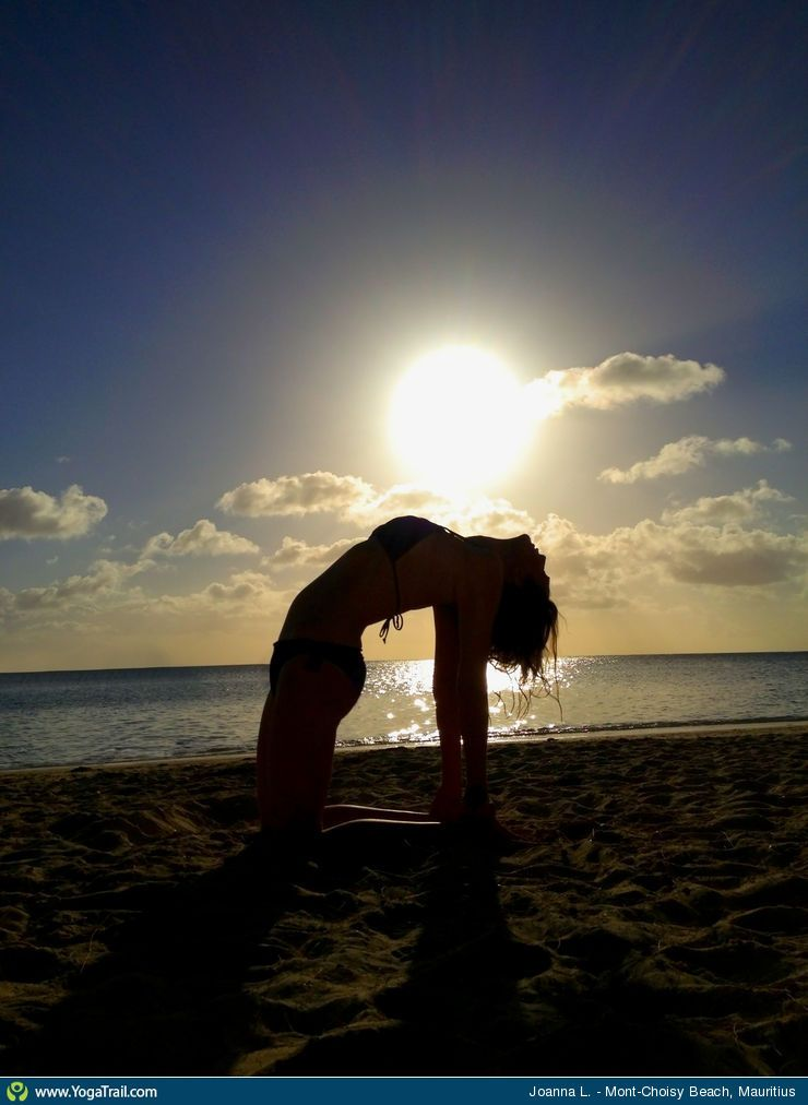 Yoga Poses Around The World Camel Pose Taken In Mont Choisy Beach