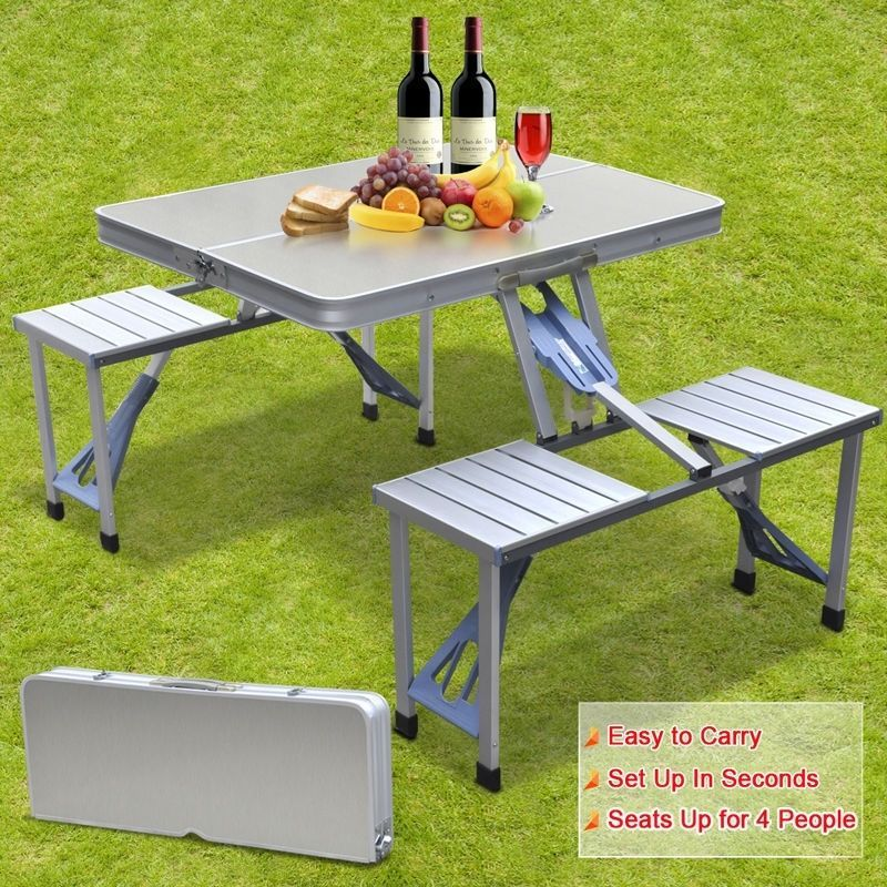 Camping Picnic Table Chairs Set Outdoor Bbq Beach Stools Portable Folding Party