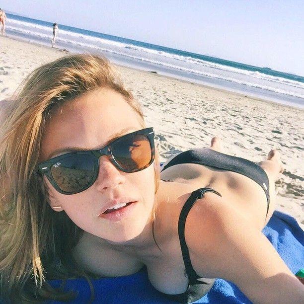 Aimee Teegarden -- Beach Selfie on Instagram .