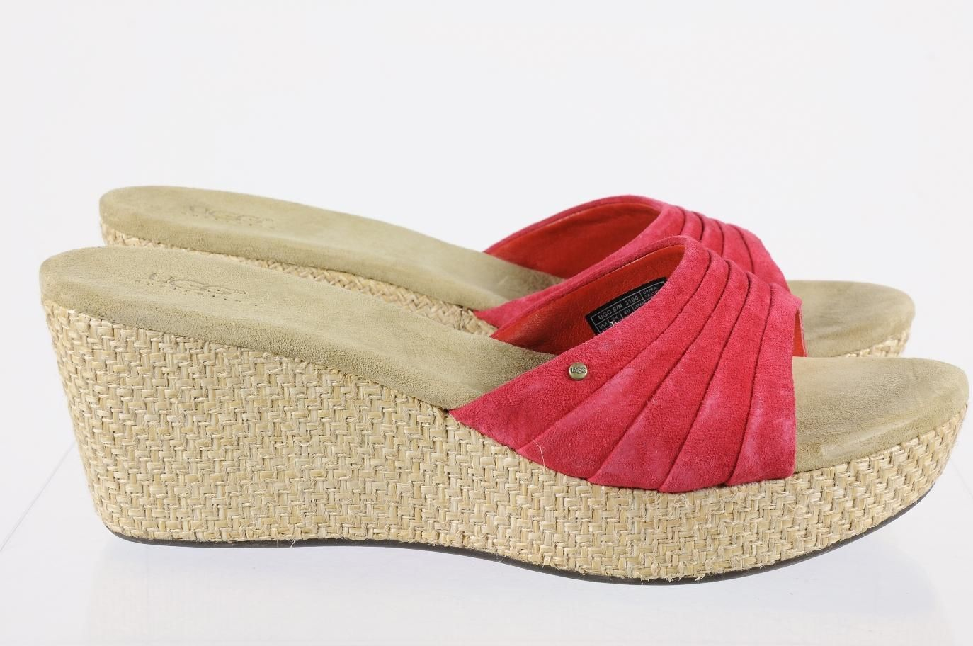 37ea04c82ab Details about Ugg Tan Suede Espadrille Wedge Slides Sandals Shoes Sz ...