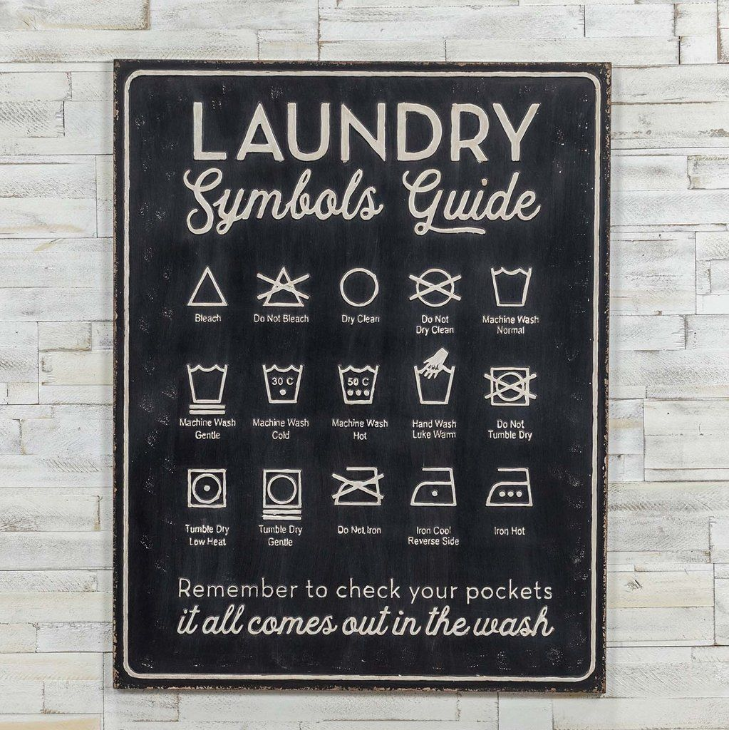 Laundry Symbols Guide Metal Sign In 2020 Laundry Symbols Laundry Signs Metal Signs