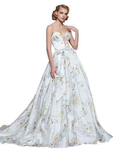 Printed wedding dress CLOCOLOR Women\'s Sweetheeart Printed Ball Gown ...