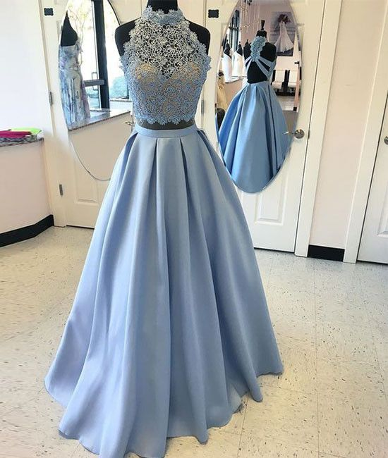 Blue Two Piece Lace Prom Dress,A Line High Neck Evening Dress
