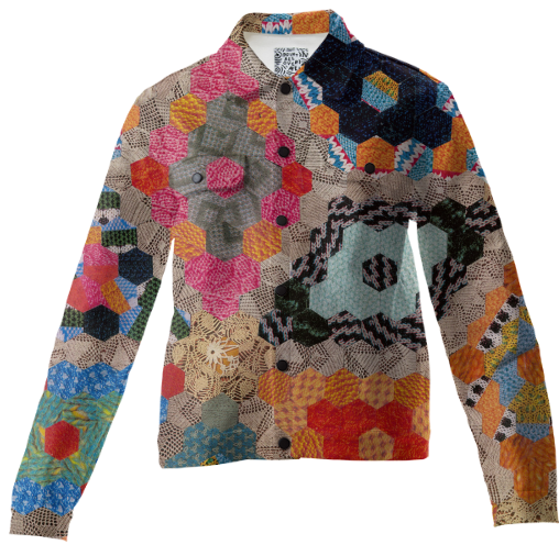 new texas patchwork quilt print jacket by natalie dawson available online at PRINT ALL OVER ME