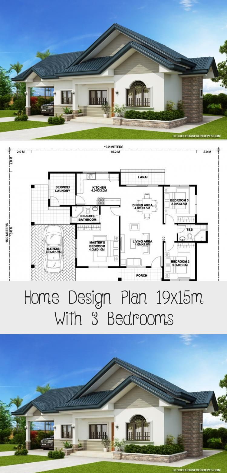 Home Design Plan 19x15m With 3 Bedrooms Home Plans Home Design Plan Bungalow House Design House Design