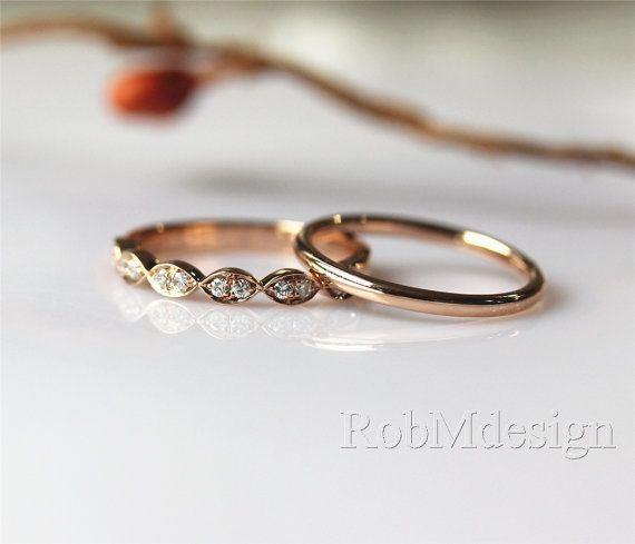 elegant simple 2pcs 14k rose gold wedding ring set by robmdesign - Simple Wedding Ring Sets