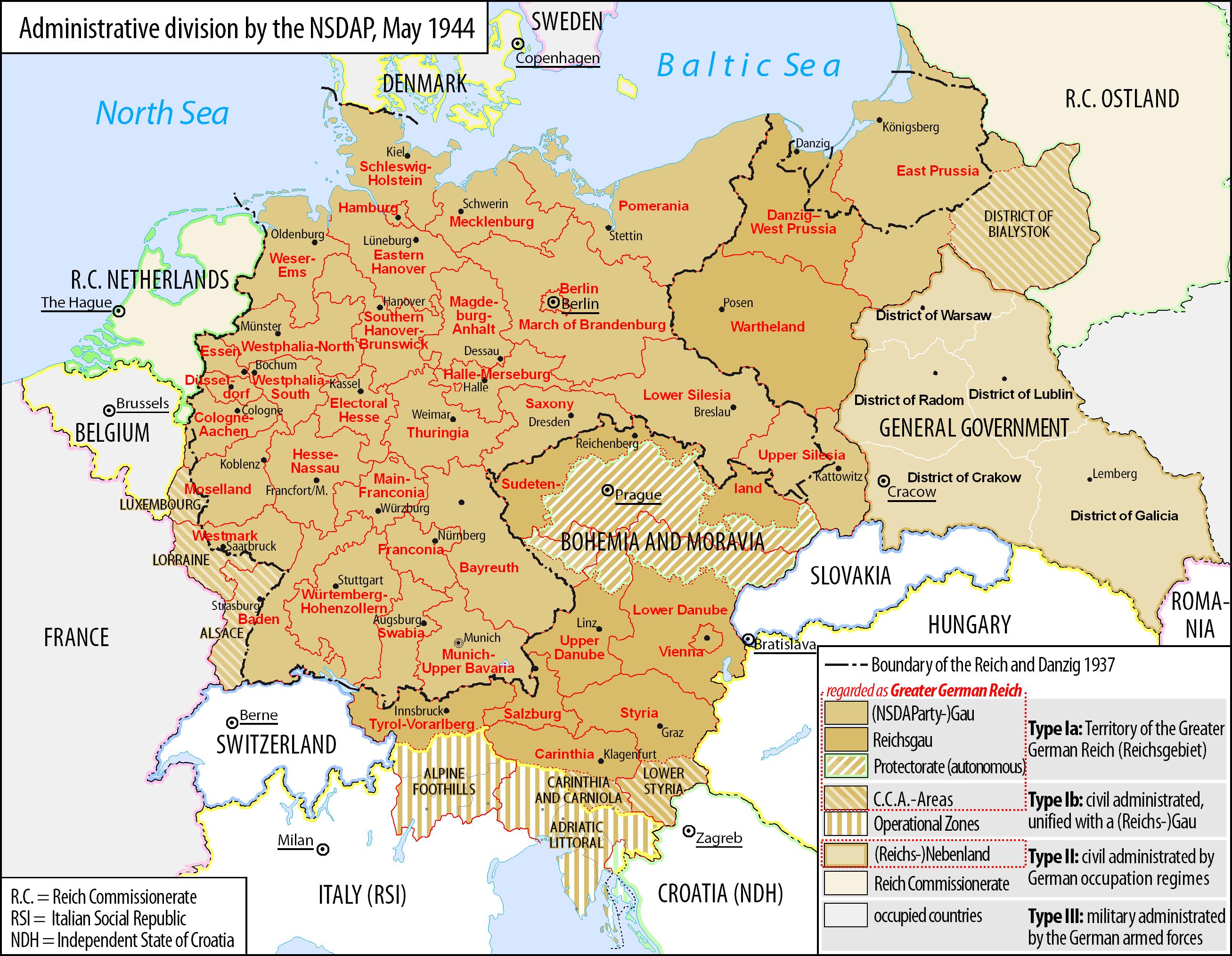 Greater German Reich NS Administration World War II - Third reich map 1944