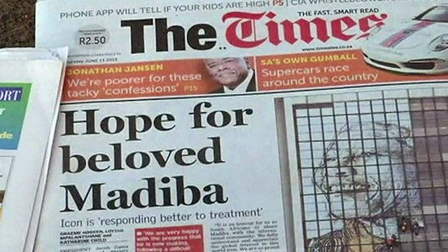"""Former South African President Nelson Mandela's """"health continues to improve but his condition remains serious"""", President Jacob Zuma has said after visiting Mr Mandela in hospital, Mr Zuma urged people to keep him """"in their prayers""""..."""