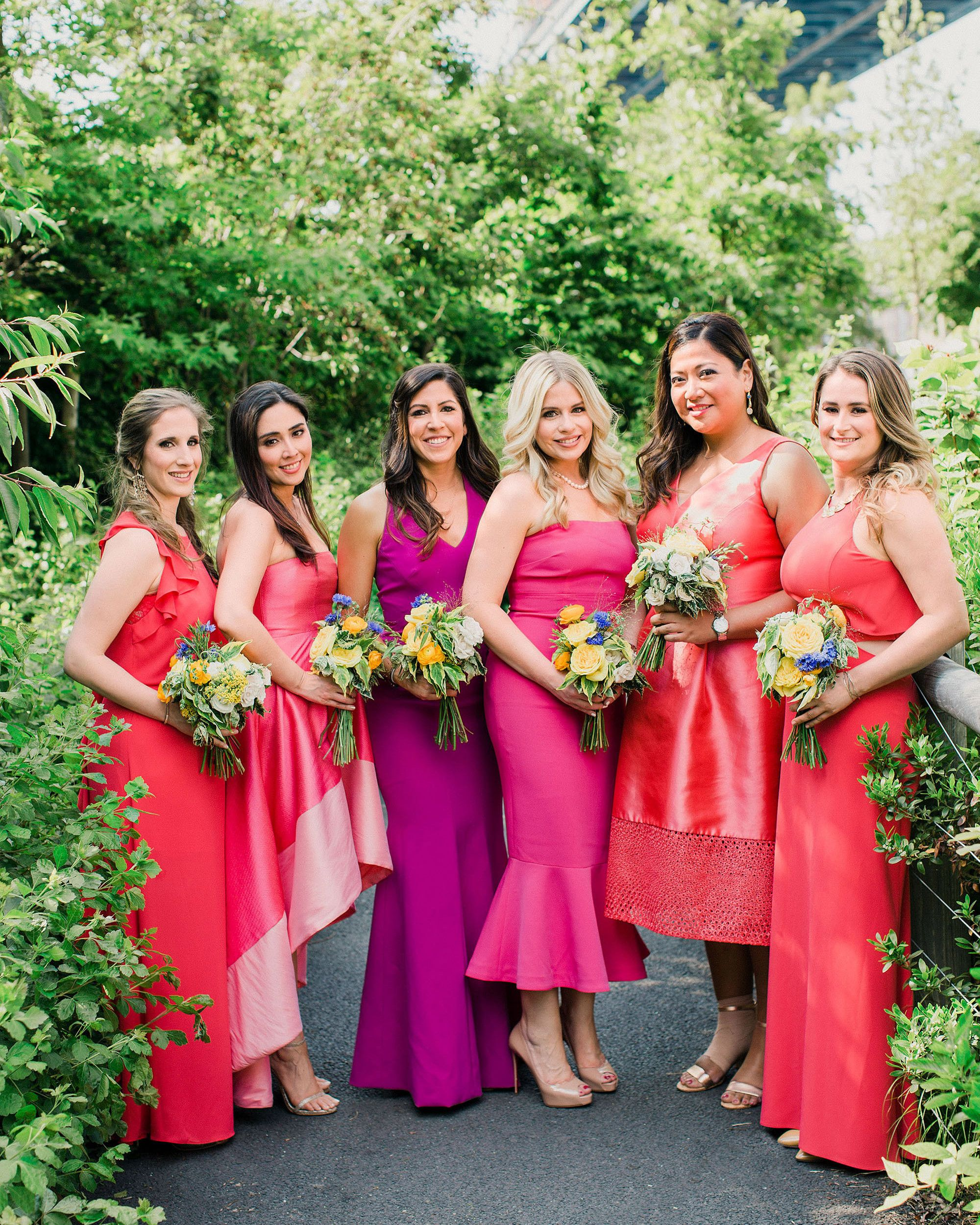 This Couple Went Bold And Colorful For Their Brooklyn New York Wedding Summer Bridesmaid Dresses Bright Bridesmaid Dresses