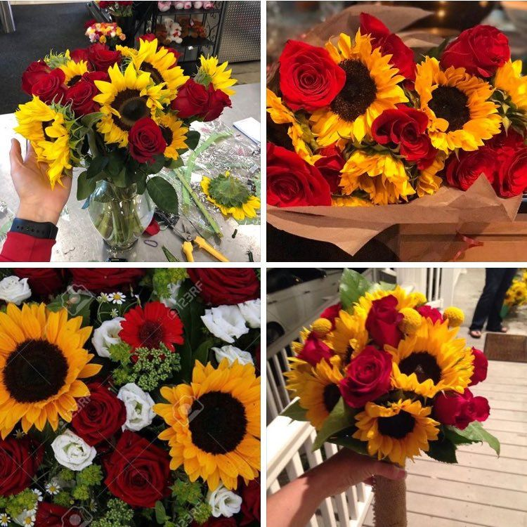 Embedded   Sunflowers and roses, Red bouquet, Prom flowers ...