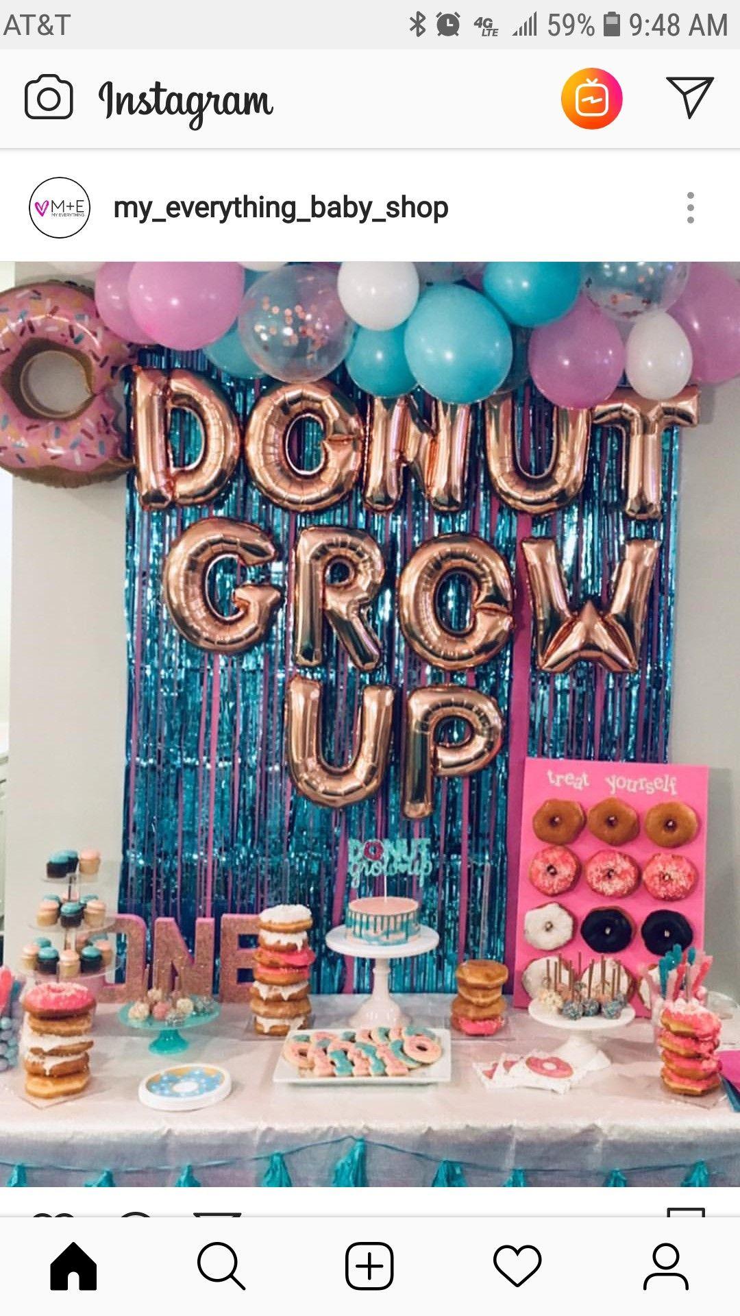 Kynnleighs Birthday Donut Birthday Parties Donut Themed Birthday Party 2nd Birthday Party Themes