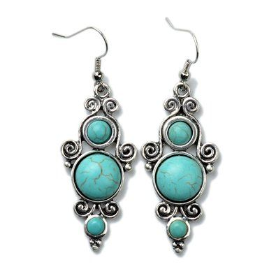 Tagoo Retro Silver Round Inlaid Turquoise Dangle Earrings