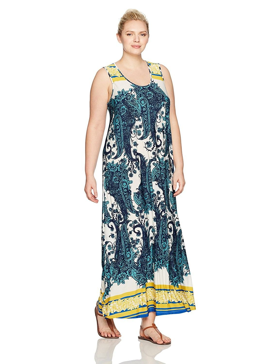 641d8829c Women's Clothing, Dresses, Casual, Women's Plus Size Sleeveless Floral  Print Maxi Dress With Lace Back - Bold Sunflower/Blue - CK12N4489FA #women  #fashion ...