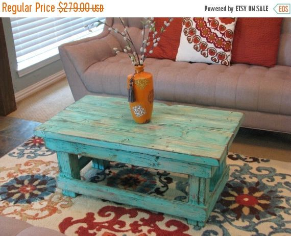 This Rustic Coffee Table Is Made From Solid Wood And Measures 40l