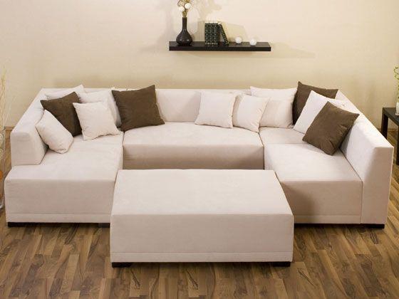 "Canapé d angle tissu en U ""Mat Long "" 8 9 places marron"