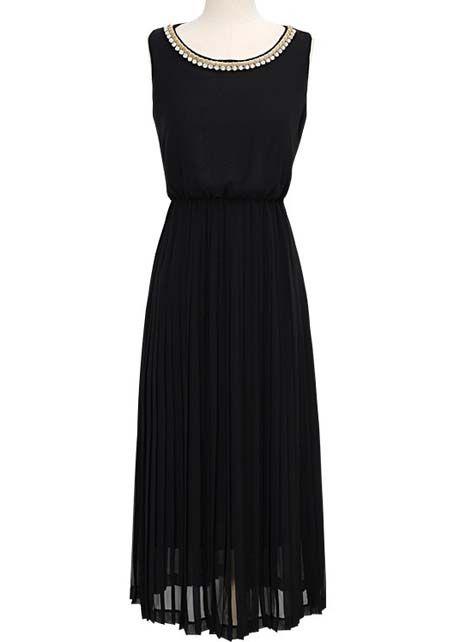 Classic Black Pleated Dress