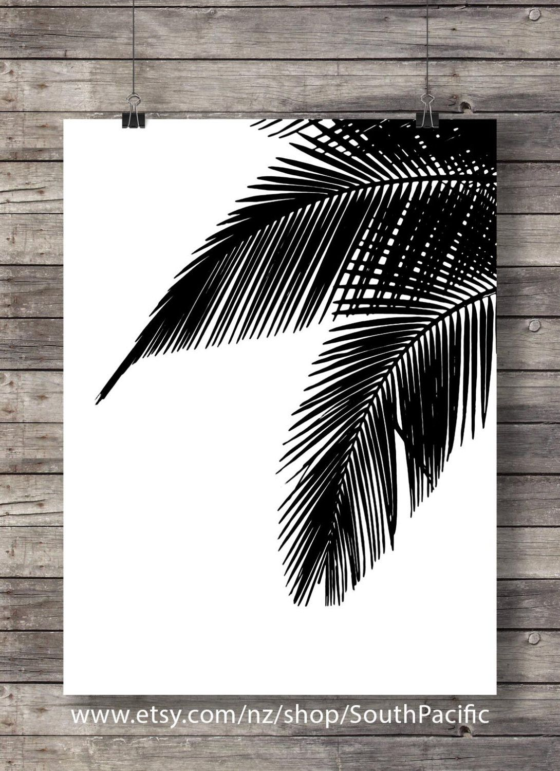 Palm leaves graphic art print black and white modern minimalist art tropical art print botanical illustration printable wall art