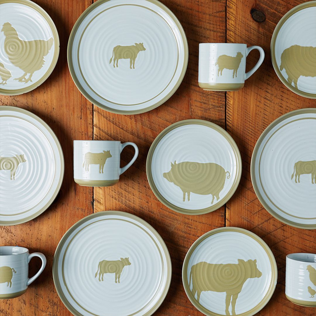 Farmhouse Dinnerware Just Got An Elevated Feel With Simple Animal Clad Patterns And Soft Neutr Farmhouse Dinnerware Rustic Dinnerware Farmhouse Dinnerware Sets