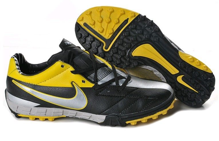 89d50fa228f9 Nike Total 90 Shoot IV TF Mens Astro Turf Soccer Shoes(Black Metallic  Silver Tour Yellow)