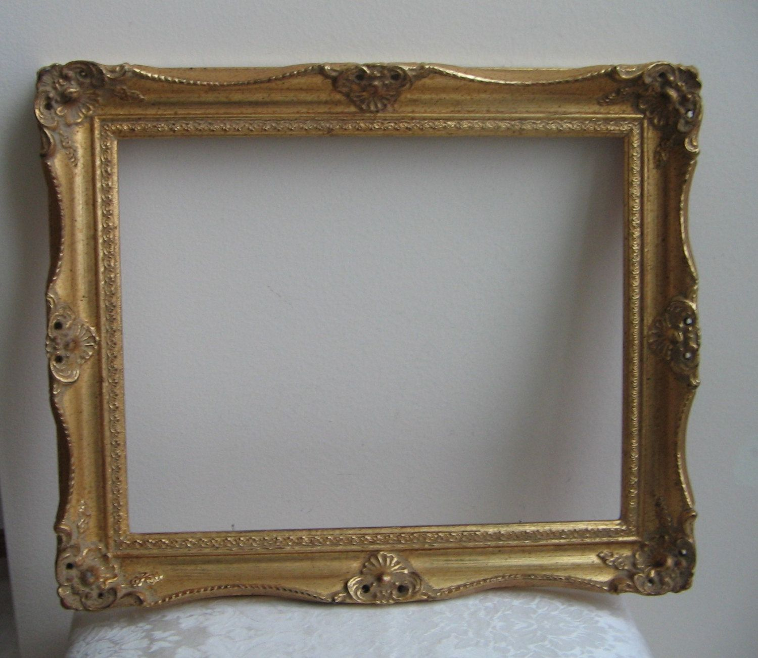 Vintage Large Picture Frame Ornate Gold Gilt Wood 14 X 17 With