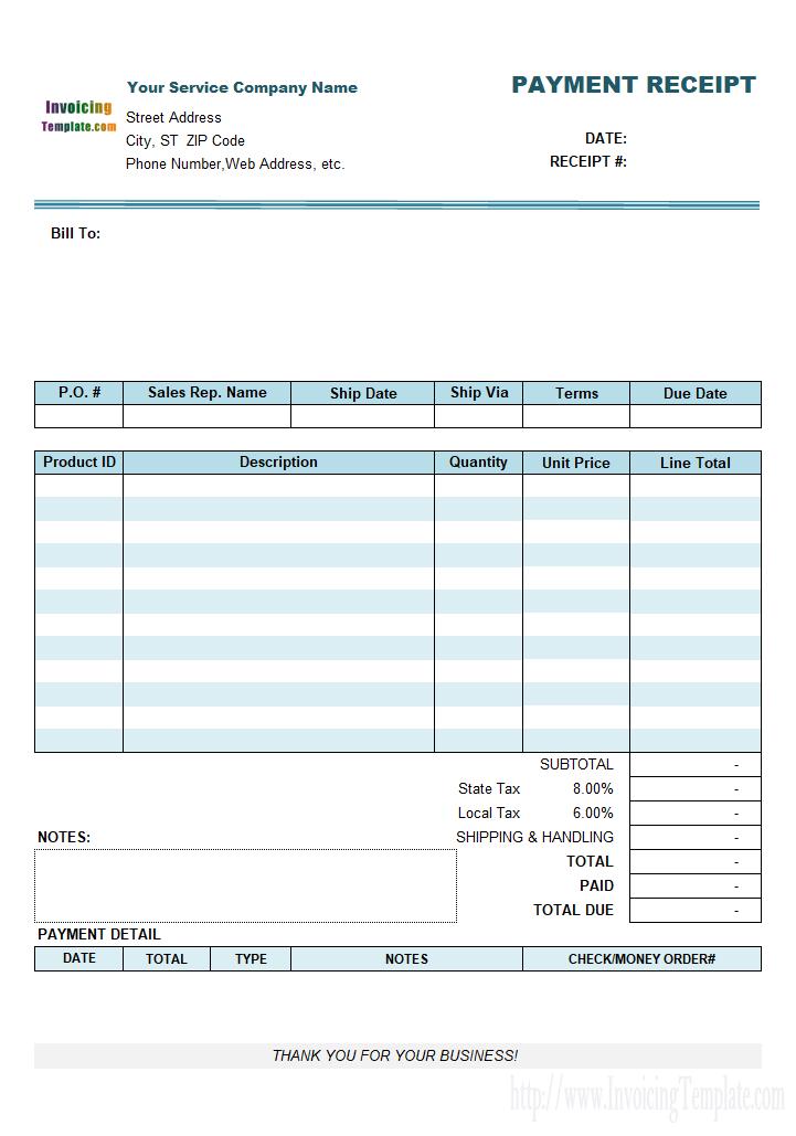 Service Receipt Form Receipt Template Receipt Invoice Template