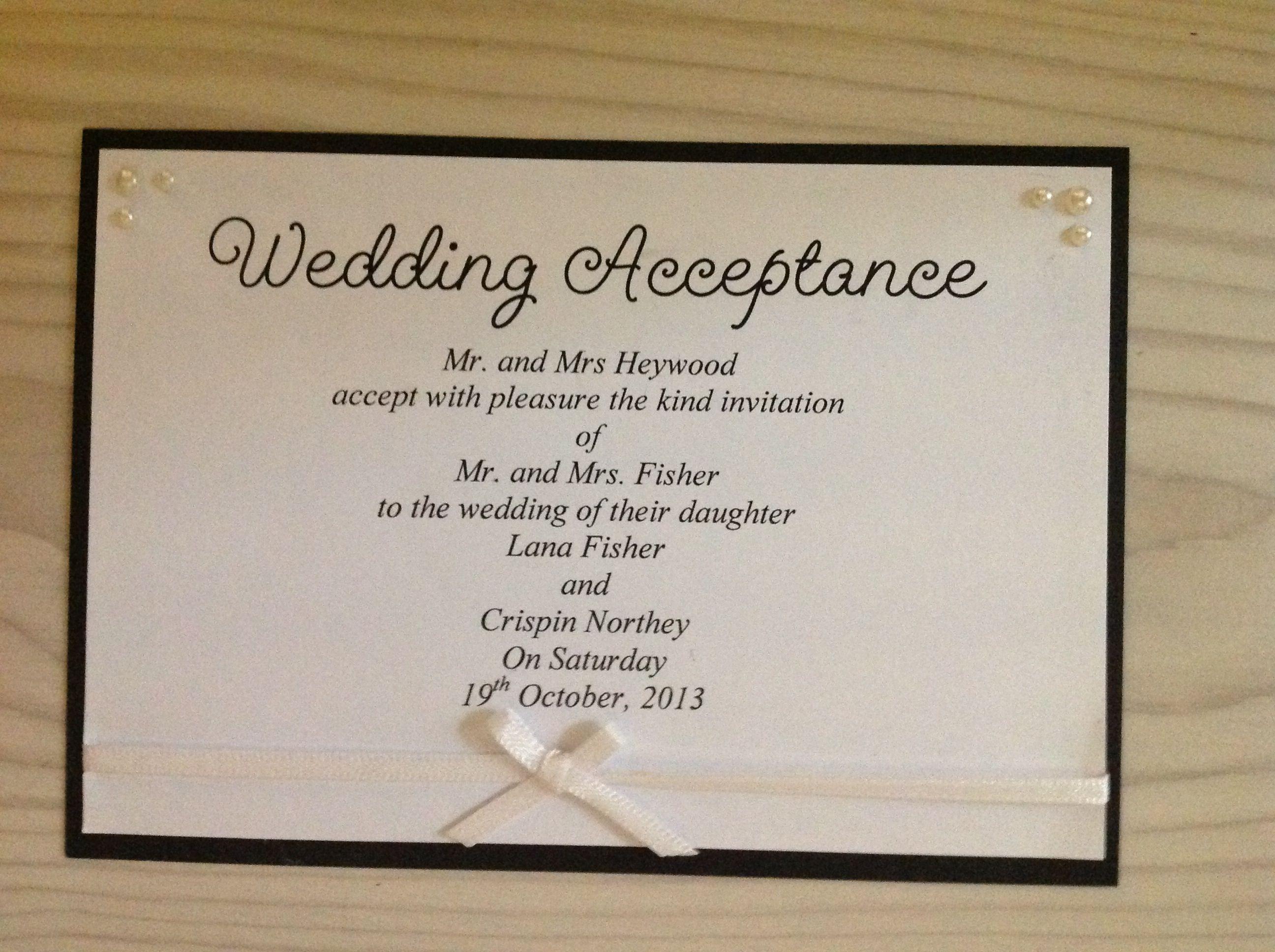 Wedding Acceptance Handmade Pearls And Bows Rsvp Wedding Acceptance Card Wedding Cards Wedding Cards Handmade