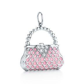 43c4db822d Tiffany & Co. Handbag charm with diamonds and pink enamel finish in  platinum.