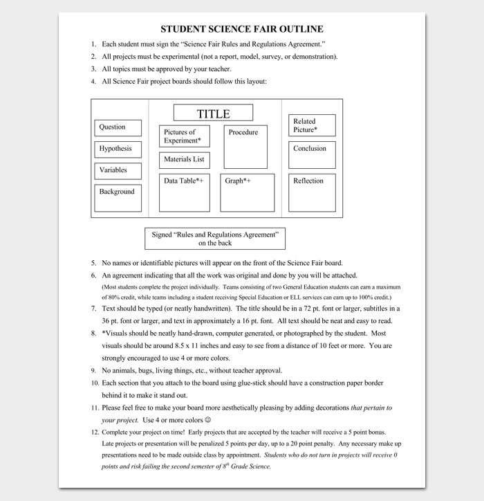 Science Fair Project Outline Template  Outline Templates  Create