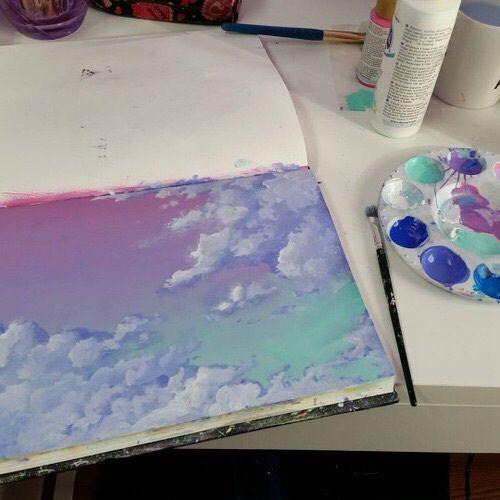 Aquarelle Ciel Etoile Foret Etoile Dessin Peinture Ciel