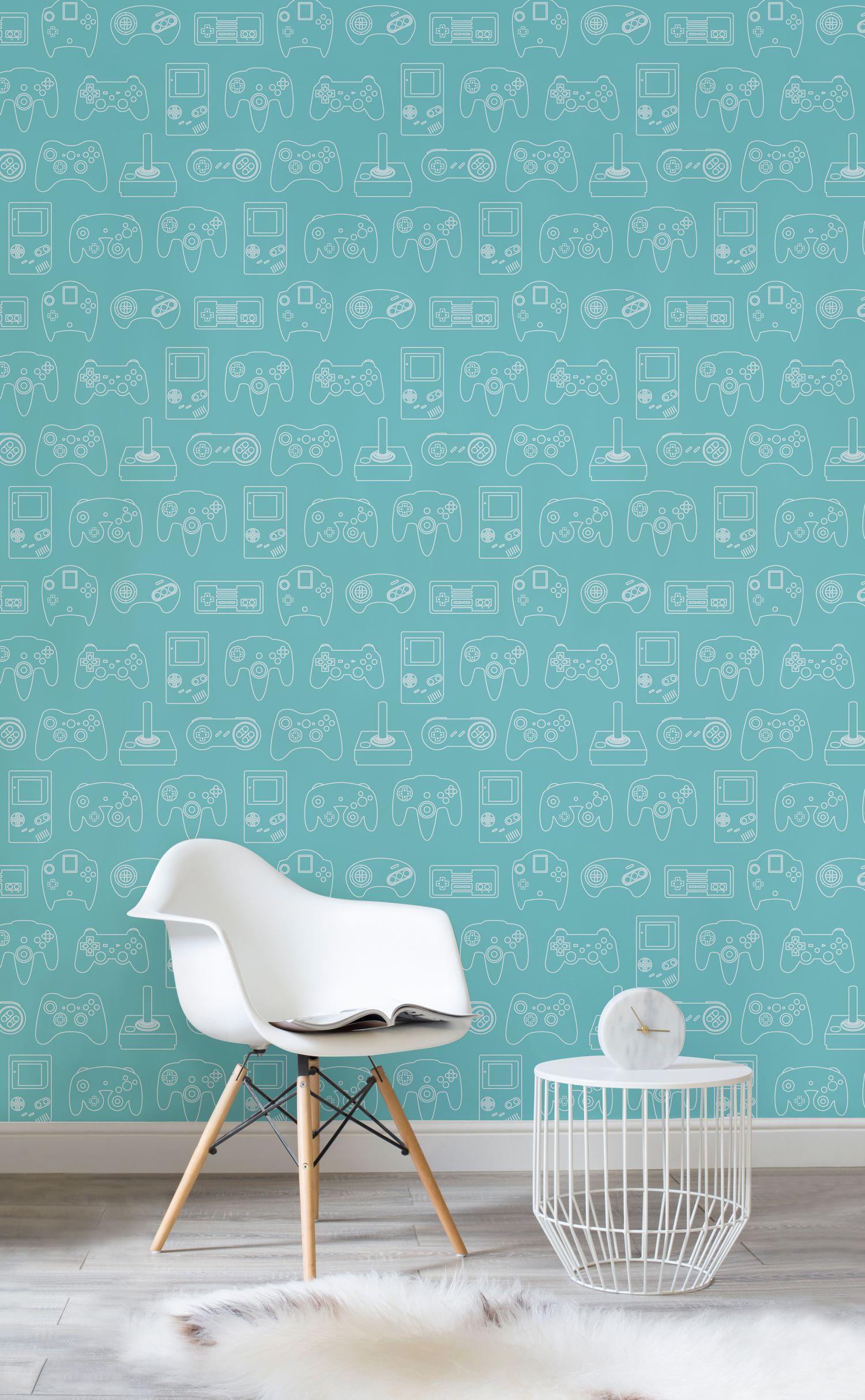 Blue Outline Retro Game Wall Mural Retro Wallpaper Murals