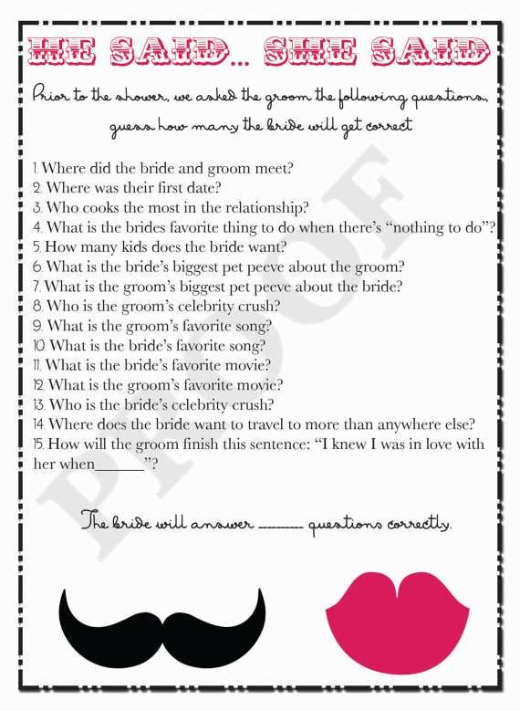 bridal shower questions game for guests