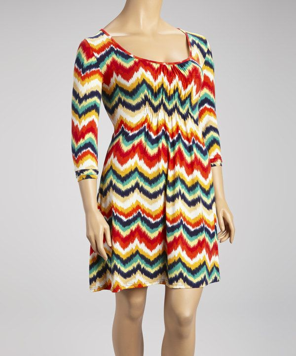 Another great find on #zulily! Rainbow Ikat Zigzag Shift Dress - Plus by Reborn Collection #zulilyfinds