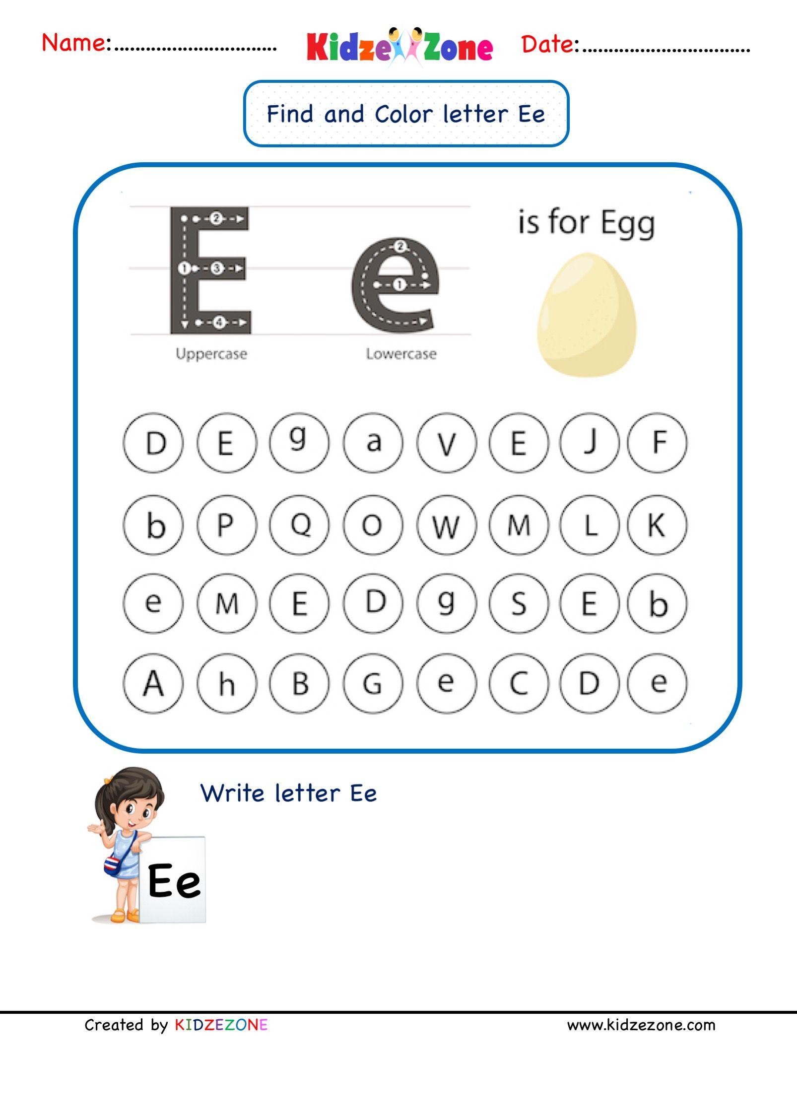 Letter E Find And Color Worksheet In