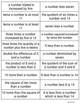 Translating Algebraic Expressions Memory Game | Algebra1 ...
