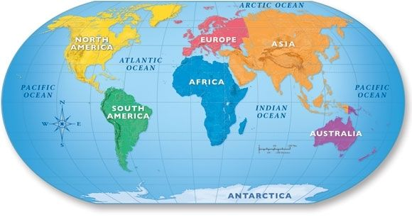 5 Oceans On Map continents and oceans map 7 continents map printable ...