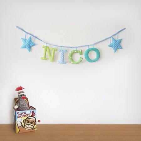 Guirnaldas de letras de tela para la habitaci n de los - Letras decorativas para ninos ...