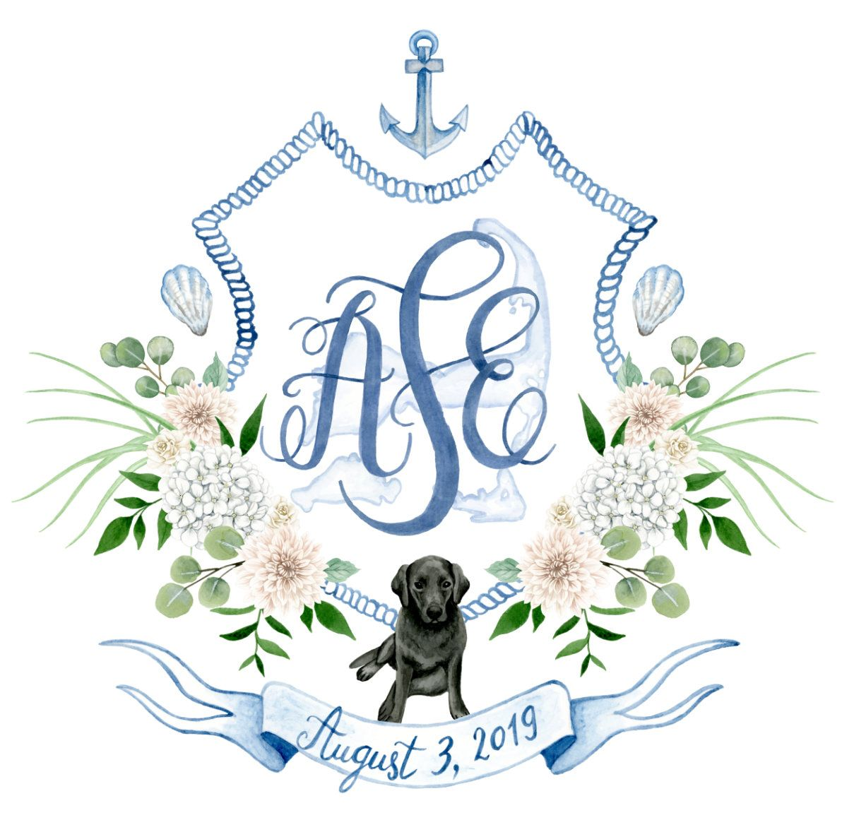 Custom Wedding Crest Digital Only Heraldry Wedding Monogram
