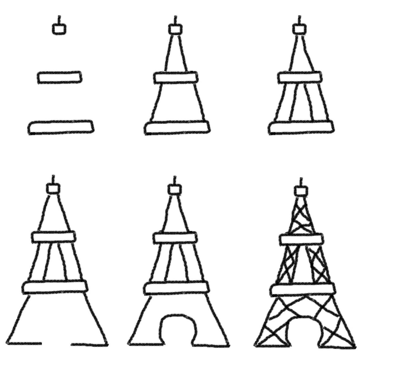 How to draw the Eiffel Tower | Springtime in Paris Party | Pinterest