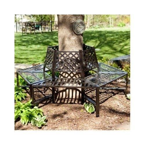 Metal Tree Bench Wrap Around Furniture Outdoor Garden Decor Backyard Patio Home Tree Bench Outdoor Outdoor Bench