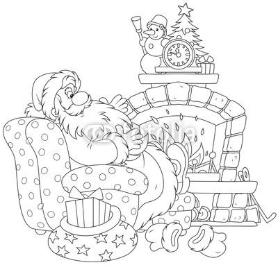 Santa At The Fireplace Christmas Coloring Sheets Christmas