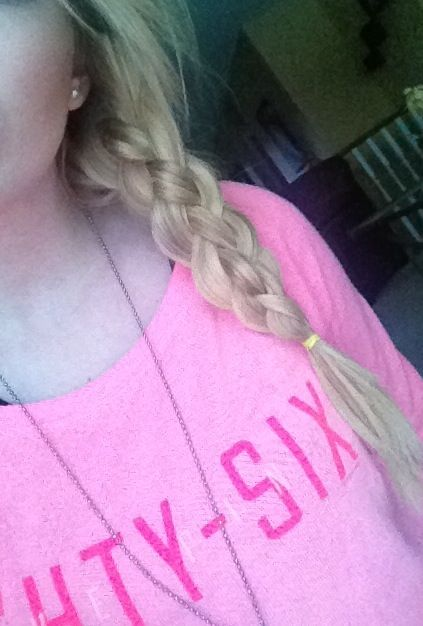 Sailors knot braid! Split hair into 4 pieces, #1 over #2, #4 over #3, then #4 over #1. Reassign numbers, and start over! :)