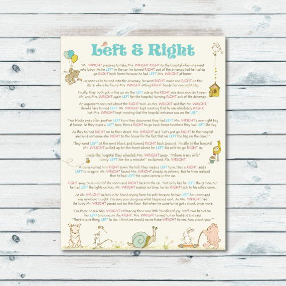 Instant Download Storybook Baby Shower Printable Left and Right