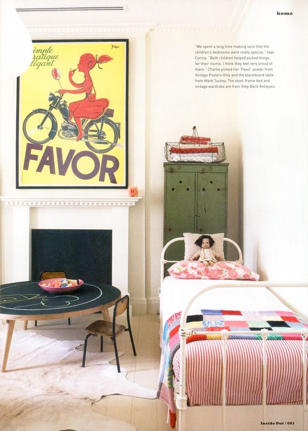 Cute child's room; love the big framed poster.