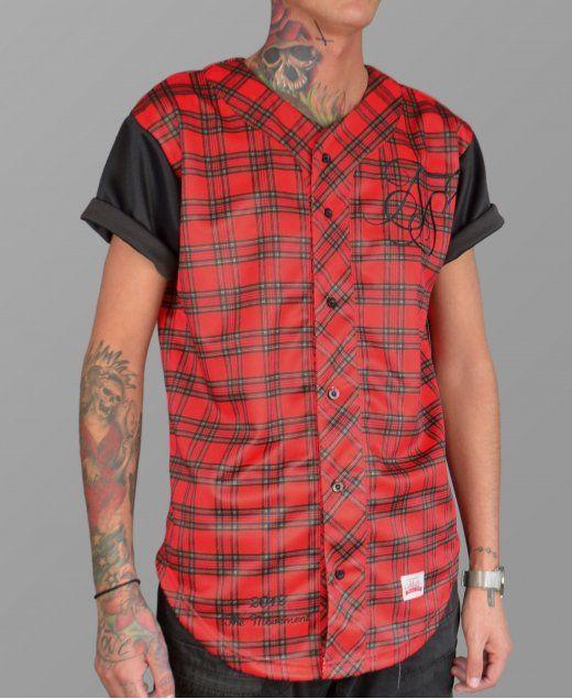 Sik Silk Red Tartan Baseball Jersey #SikSilk