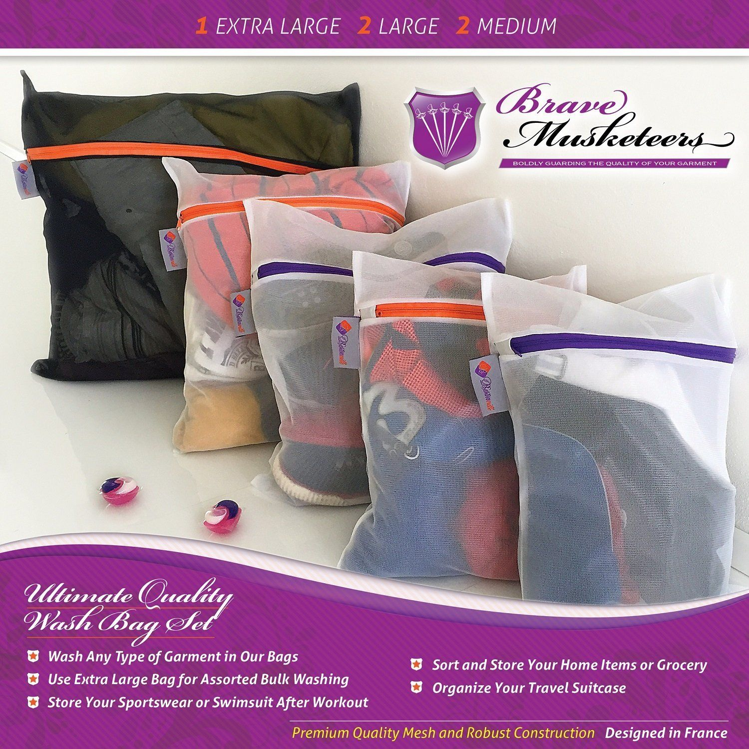 Extra Large Heavy Duty Mesh Laundry Bags Set of 5