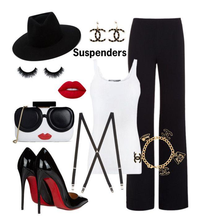 """SUSPENDERS"" by keila-87 on Polyvore featuring moda, Alexander Wang, Vince, rag & bone, Christian Louboutin, Alice + Olivia, Chanel e Lime Crime"