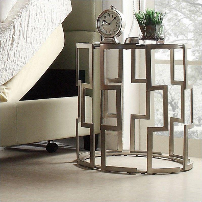 mandell round metal nightstand