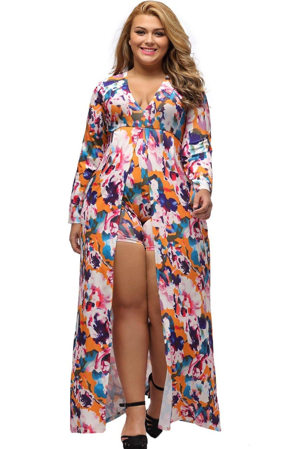 Long sleeve floral print plus size romper maxi dress full figured