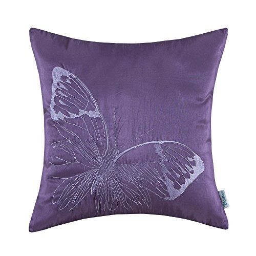 CaliTime Contempo Decorative Throw Pillow Cushion Covers Pillowcase Shell Faux Silk Vivid Butterfly Embroidered 18 X 18 Inches Purple, http://www.amazon.com/dp/B00YY01BKU/ref=cm_sw_r_pi_n_awdm_1lVCxbE12Q3EW